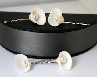 Set of 4 Shell Hair Pins, Bridal Hair Pins, Wedding Hair Accessory, Bridal Headpiece, Sea shell Hair Pins, Beach Wedding Headpiece