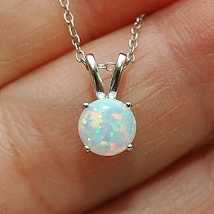 Opal pendant etsy fire opal necklace round white opal pendant best seller sterling silver opal solitaire necklace october aloadofball Images