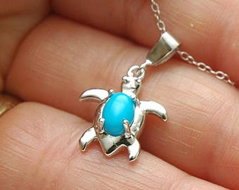 925 Silver Turquoise Necklace Sea Turtle Pendant Necklace, Turquoise Pendant, Turtle Charm Necklace, December Birthstone, Turquoise Jewelry