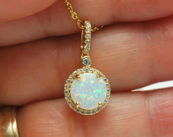 Gold White Fire Opal 925 Sterling Silver Necklace, October Birthstone, Opal Pendant, CZ Diamond Necklace, Dainty Necklace, Gifts for Her