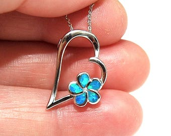 Opal Necklace Silver Heart Pendan, Valentines Gift, Blue Opal Pendant, October Birthstone Jewelry, Plumeria Flower Pendant, gifts for her