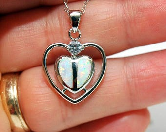 Heart Fire Opal Necklace, Silver White Opal Heart Pendant Necklace, Opal Jewelry, Fire Opal Pendant, October Birthstone, gifts for her