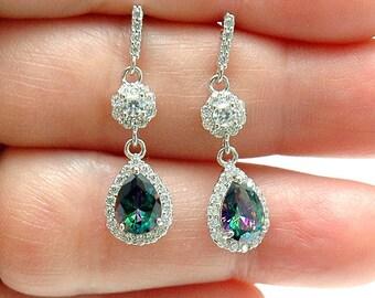 Mystic Topaz Earrings Teardrop Earrings, Silver Dangle Earrings, Rainbow Topaz Earrings, Diamond Accent Earrings, Pear Shaped Earrings, Gift