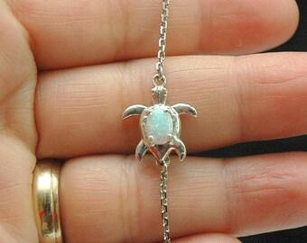 Opal Bracelet Turtle Bracelet, October Birthstone Bracelet, Fire Opal Jewelry, Dainty Sea Turtle Bracelet, Tortoise Bracelet, Turtle Jewelry