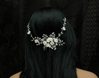 Hair Vine, Wedding Hair Piece, Bridal Hair Vine,Leaf  Wedding Headpiece, Pearl Hair Vine, Silver Wedding Headpiece, Wedding Hair Accessories