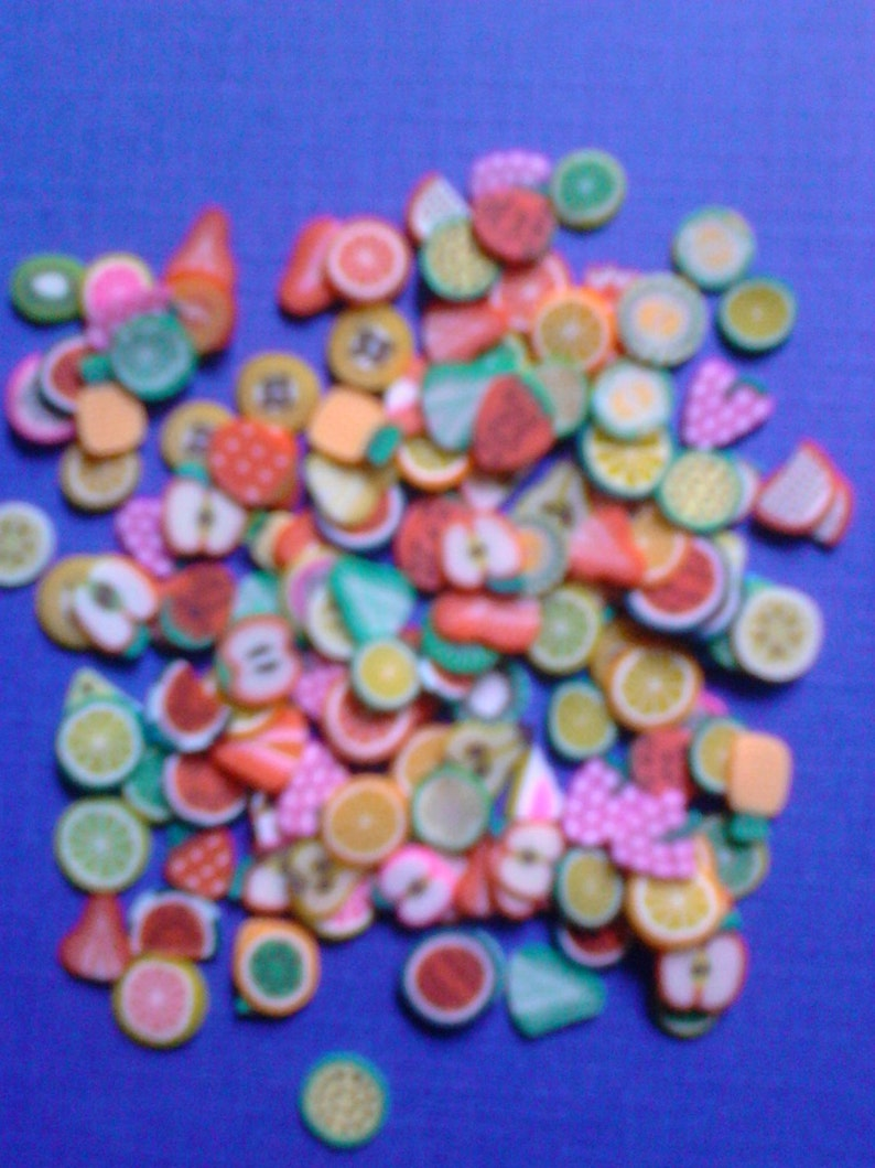 Kawaii clay cane mini fruits slices deco decoden diy     more image 0