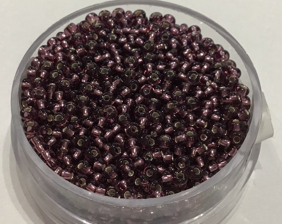 Size 9 glass seed beads silverlined dark purple 17 grams
