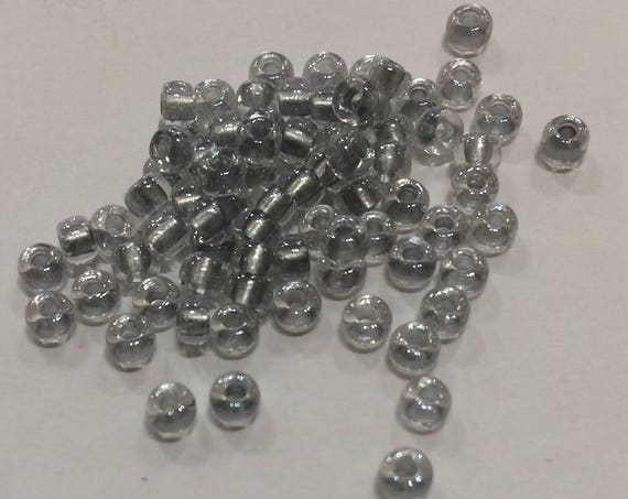 Size 8 Miyuki Seed Bead Pewter Lined Crystal 15g