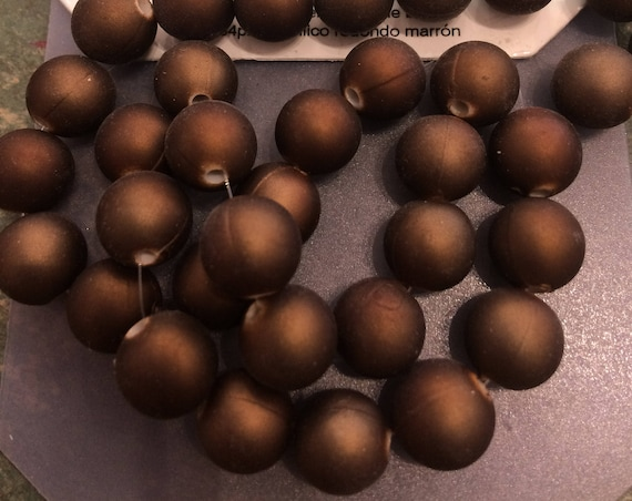 Acrylic brown 9-10mm bead 34 pieces
