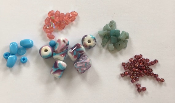 Sale pack, glass beads, crystals, semi precious chips, triangle size 8 seed beads