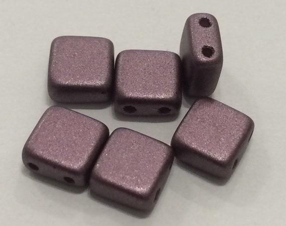 6mm Czech 2 Hole Tile Bead in metallic brown 35 pieces