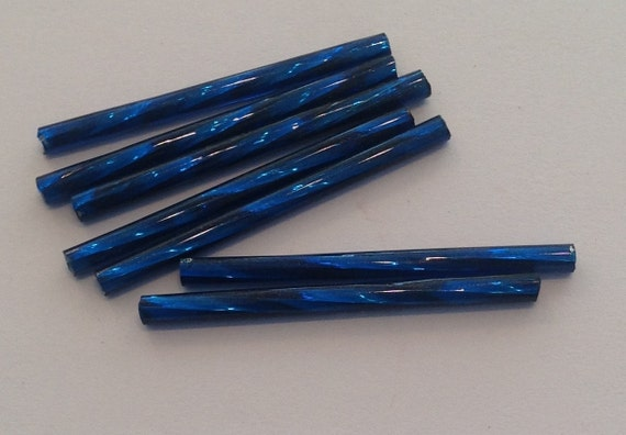 20 x silverlined Montana blue 30mm bugle beads