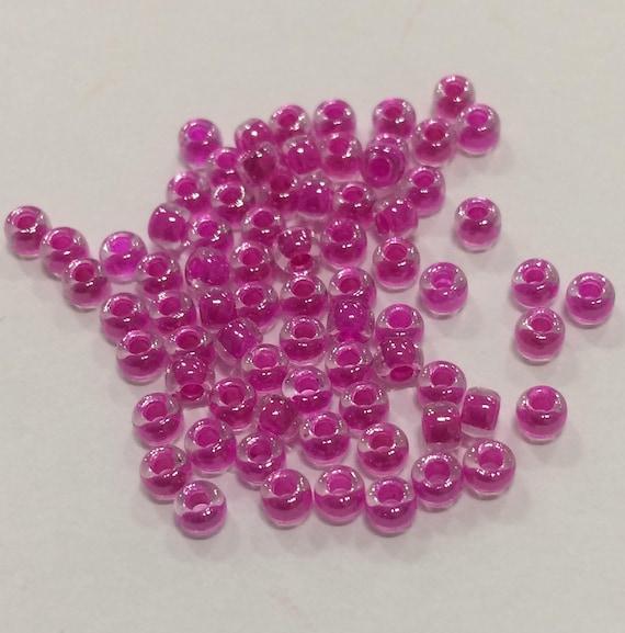 Size 8 Miyuki Seed Bead Fuchsia Lined Crystal 15g