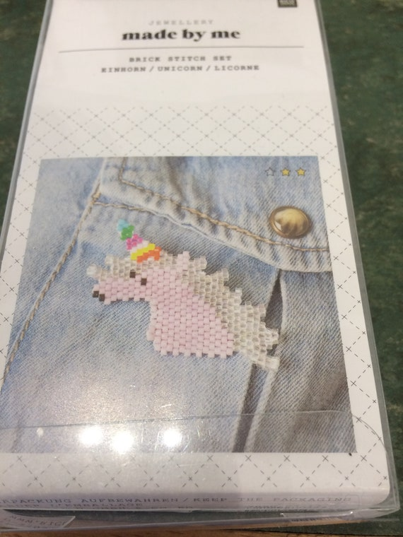Brick Stitch Unicorn Brooch Kit