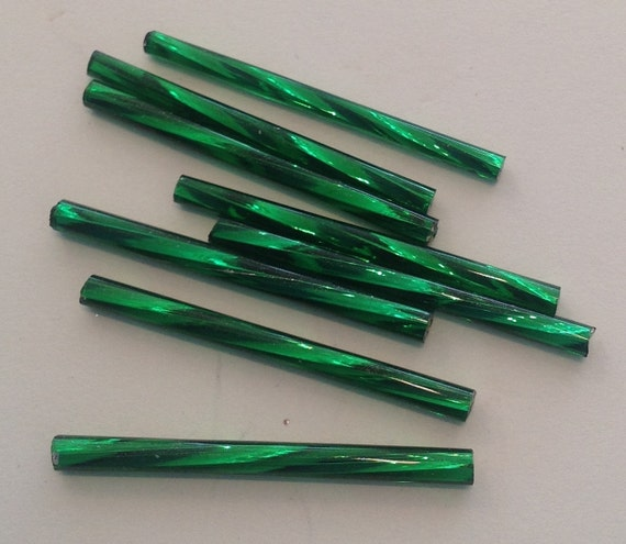 20 x Silverlined Christmas Green 30mm twisted bugle beads