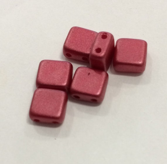 6mm Czech 2 Hole Tile Bead in metallic red 35 pieces