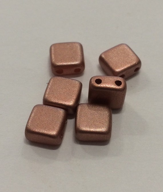 6mm Czech 2 Hole Tile Bead in a copper colour 35 pieces