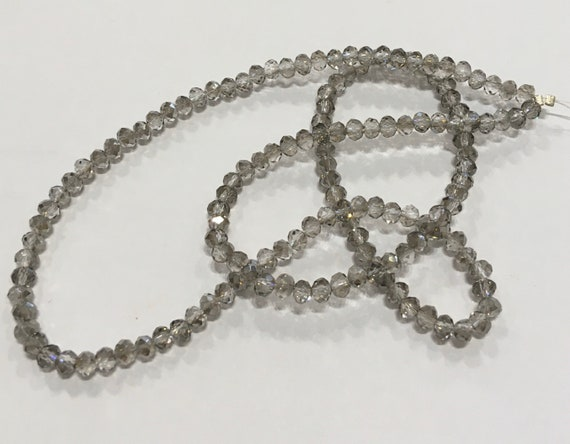 Crystal faceted 4mm donut glass beads in Light Grey approx 150 beads