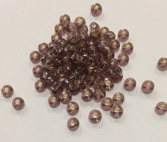 Size 8 Miyuki Seed Bead Silverlined Smokey Amethyst 15g