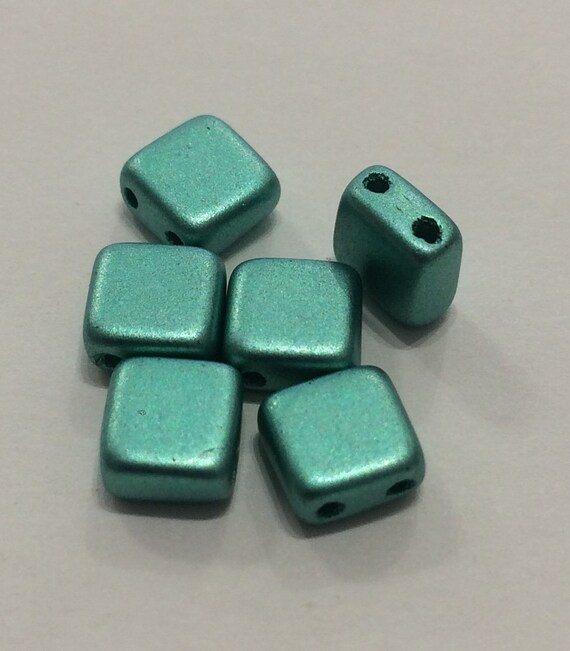 6mm Czech 2 Hole Tile Bead in metallic green 35 pieces