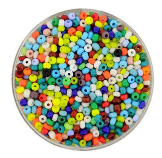 Size 9/0 glass seed beads in mixed opaque colours 17 grams