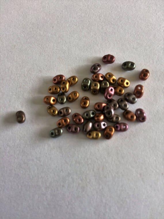 Matubo Czech MiniDuo bead Bronze Rainbow Copper 2.5x4mm 2 hole bead 10g