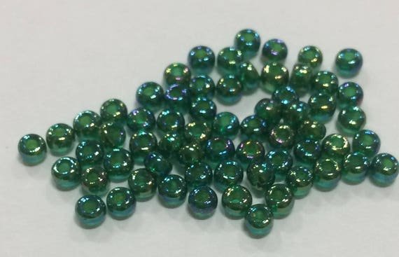 Size 8 Miyuki Seed Bead Chartreuse Lined Green AB 15g