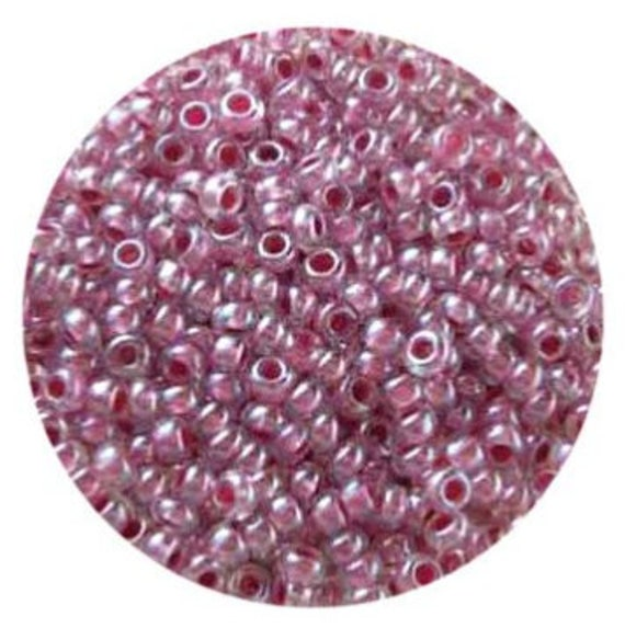 Size 9/0 glass seed beads in colourlined dark pink 17 grams