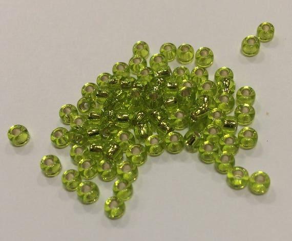 Size 8/0 Miyuki seed bead Silverlined Chartreuse