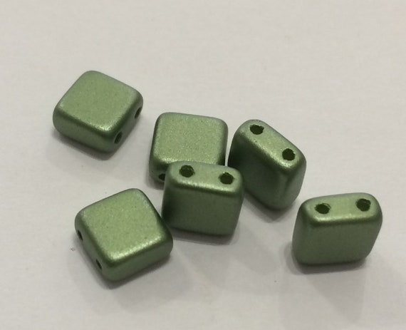 6mm Czech 2 Hole Tile Bead in olive green 35 pieces