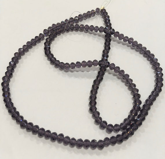 Crystal faceted 4mm donut glass beads in Dark Purple approx 150 beads