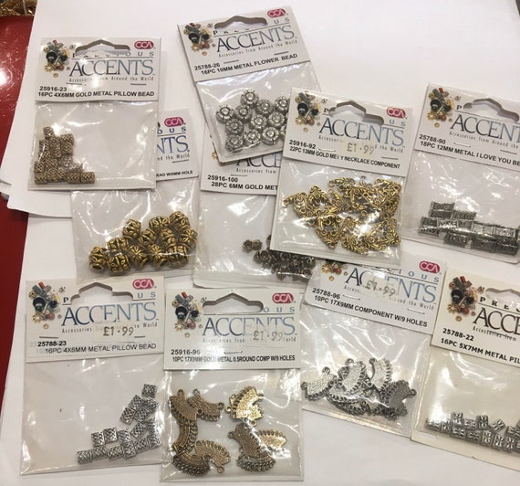 10 packets of metal spacer beads in both gold and silver colour for jewellery making