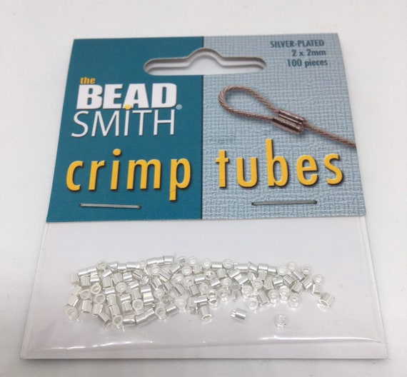 Crimp tubes, silver plated and gold plated, jewellery findings, 2 x 2mm, 100 pieces
