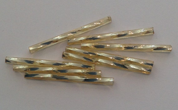 20 x 30mm light gold twisted long bugle beads