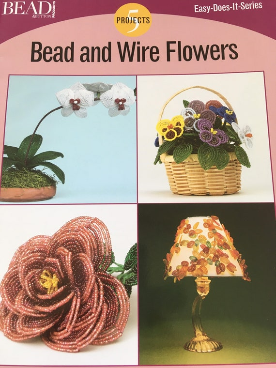 Book bead and wire flowers, project book to make beaded flowers