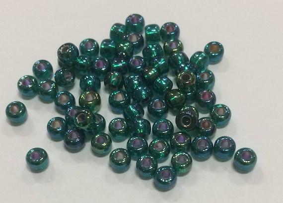 Size 8 Miyuki Seed Bead Silverlined Green AB 15g