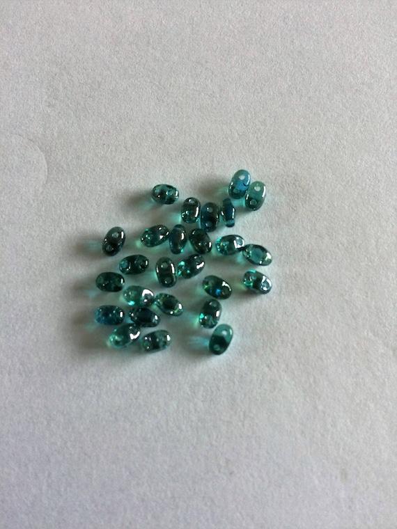 Matubo Czech MiniDuo bead Twilight Aquamarine 2.5x4mm 2 hole bead 10g