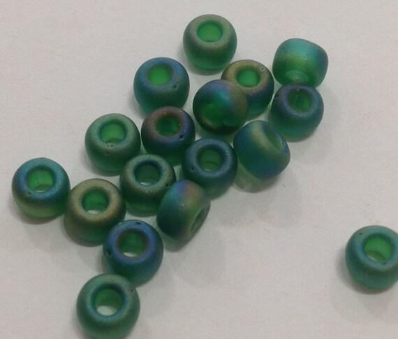 Miyuki size 5/0 seed beads matte transparent green AB 20g