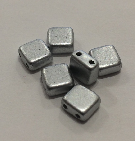 6mm Czech 2 Hole Tile Bead matt silver 35 pieces