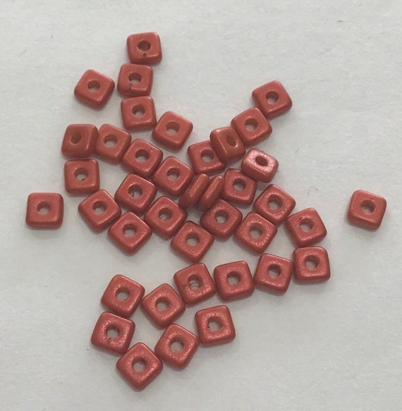 Czech Quad Beads Lava Red 5g (approx 110 beads)