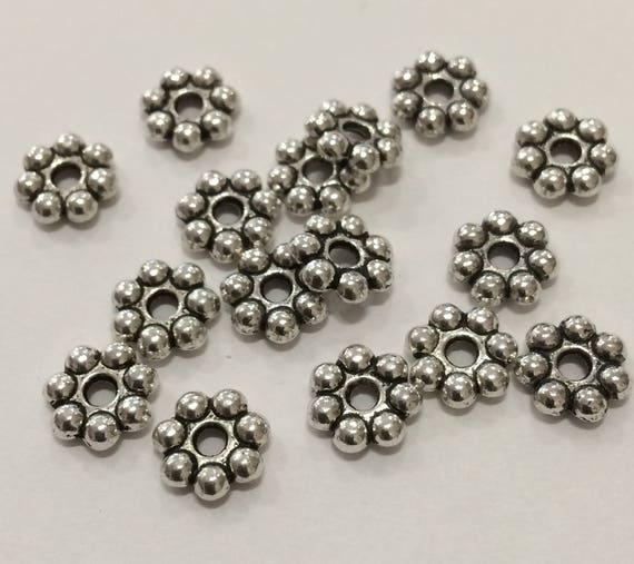 Daisy Snowflake Rondelle Beads 8x8mm Antique Silver 20 pieces