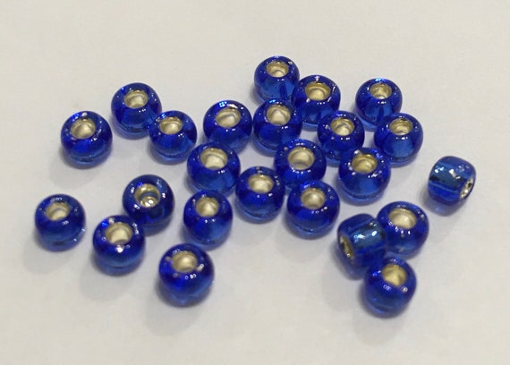 Size 6 Toho Seed Bead Silverlined Sapphire 15g approximately 210 beads