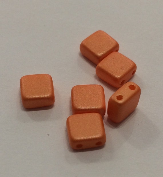 6mm Czech 2 Hole Bead in orange 35 pieces