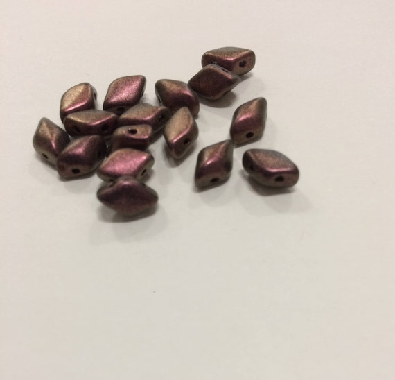 Polychrome Plum 8 x 5mm GemDuo bead Approx 8g
