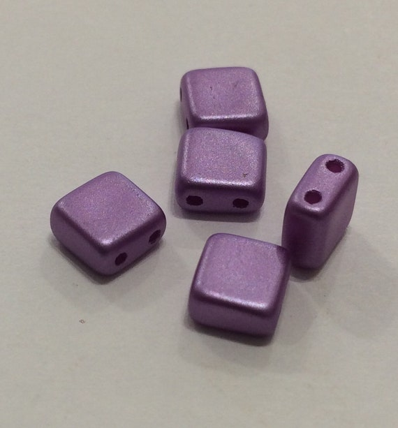 6mm Czech 2 Hole Tile Bead in lilac 35 pieces