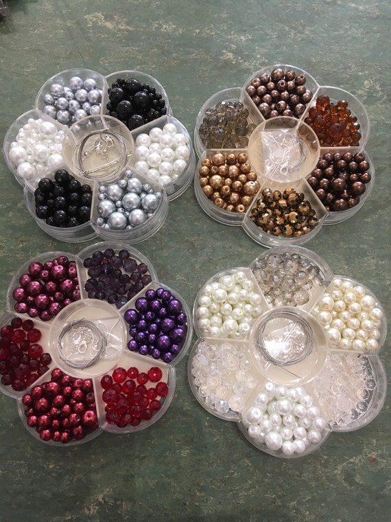 Pearl and crystal set, Bead kit, glass pearls, glass crystals, necklace, bracelet and earring kit