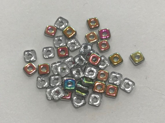 Czech Quad Beads Crystal Vitrail 5g (approx 110 beads)