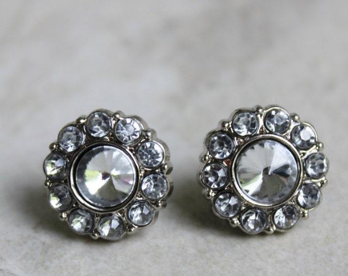 Silver Bridesmaid Earrings, Crystal Bridesmaid Jewelry, Bridesmaid Gift, Rhinestone Earrings, Crystal Jewelry, Bridal Jewelry