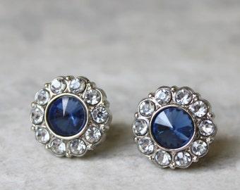 Sapphire Earrings, Blue Wedding Jewelry, Blue Earrings, Crystal Earrings, Bridesmaid Earring Gift, Bridesmaid Earrings, Rhinestones