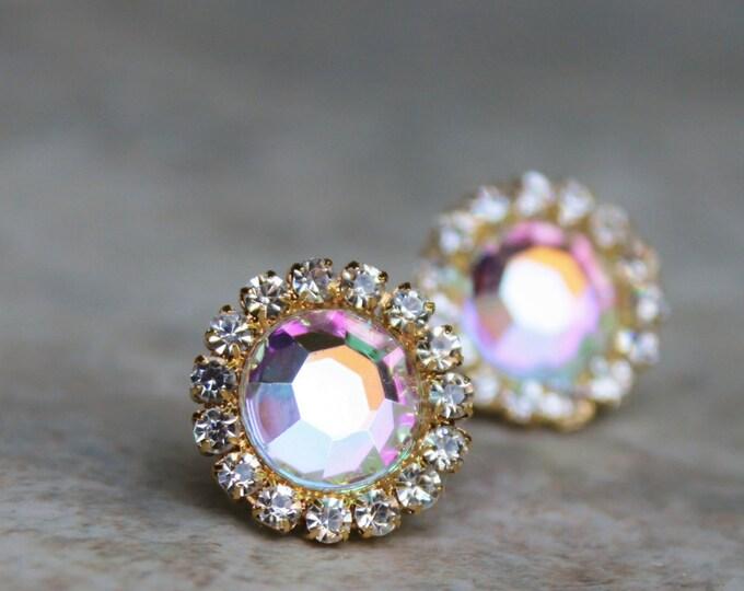 Iridescent AB Gold Bridesmaid Earrings